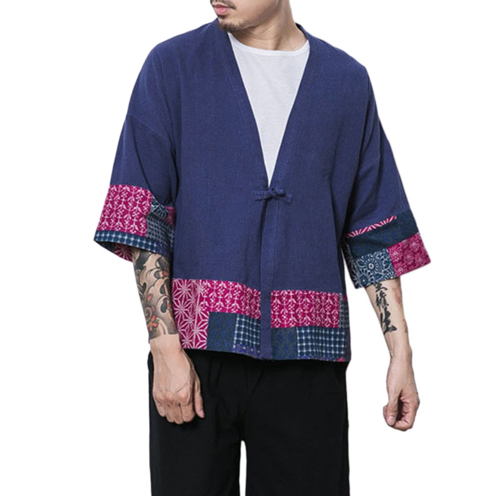 Zhhlaixing Maniche a 3//4 Uomo Cappotto Kimono Giapponese Mens Vintage Cloak Cotton Linen Blends Loose Fit Short Coat Jacket Cardigan