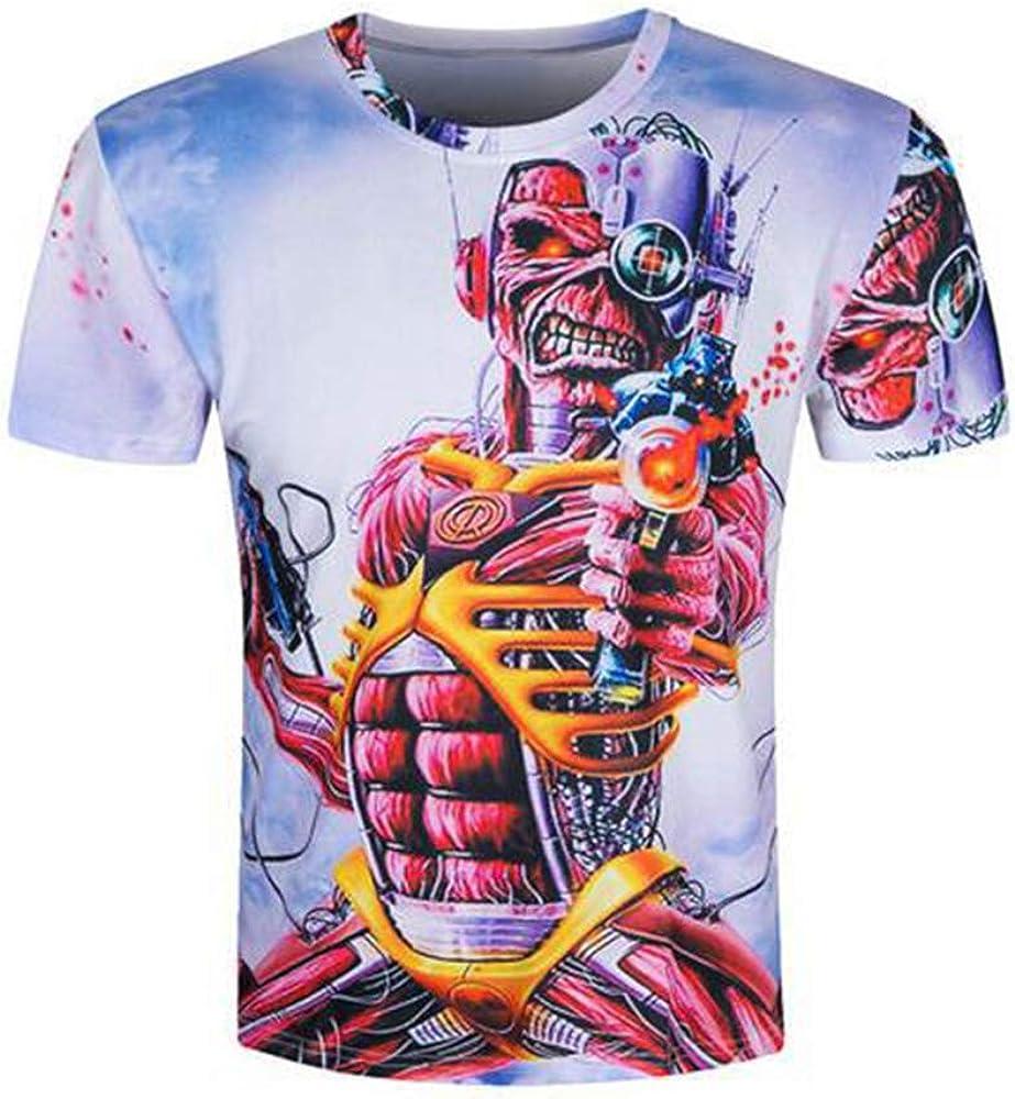 Iron Maiden Camiseta Casual patrón de Dibujos Animados de impresión de Manga Corta Cuello Redondo Camiseta Blusa Camiseta de Verano Blusa Hombres (Color : A10, Size : M): Amazon.es: Ropa y accesorios
