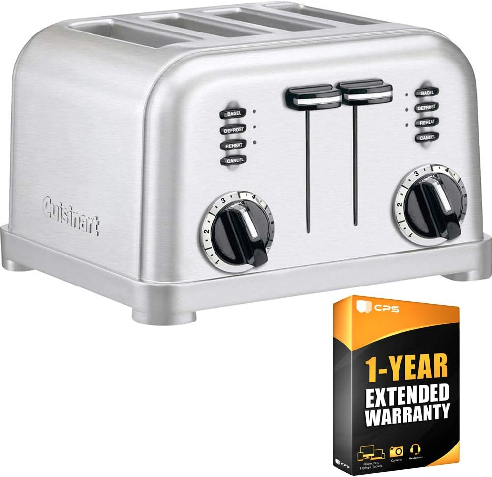Cuisinart (CPT-180) 4-Slice Metal Classic Toaster - Brushed Stainless with 1 Year Extended Warranty