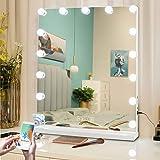 Fenair Makeup Vanity Mirror with Bluetooth & USB Charging Port - 3 Color Lighting Model,15 Bulbs Hollywood Style Makeup…