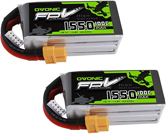 OVONIC 2 Pack 14.8V 1550mAh 100C 4S LiPo Battery Pack with XT60 Connector for FPV Racing RC Quadcopter Helicopter Aircraft Multi-Motor Hobby DIY Parts: Amazon.de: Spielzeug
