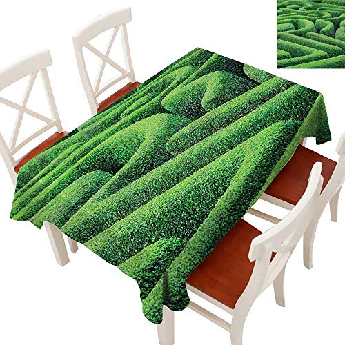 Garden Rectangle Tablecloth Green Plant Maze Growth Ecology and Nature Theme Labyrinth Landscape Outdoors City Park Washable Polyester - Great for Buffet Table, Parties, Holiday Dinner, Wedding & Mor -