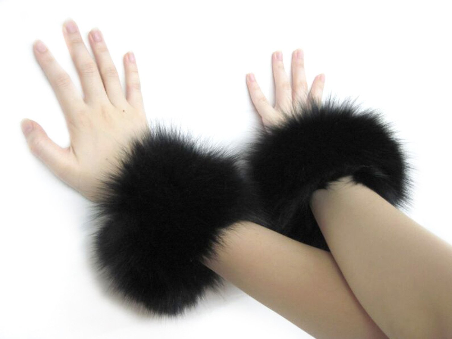 Black Fox Bracelets & Slap-on Cuffs Pair FursNewYork FAC38B