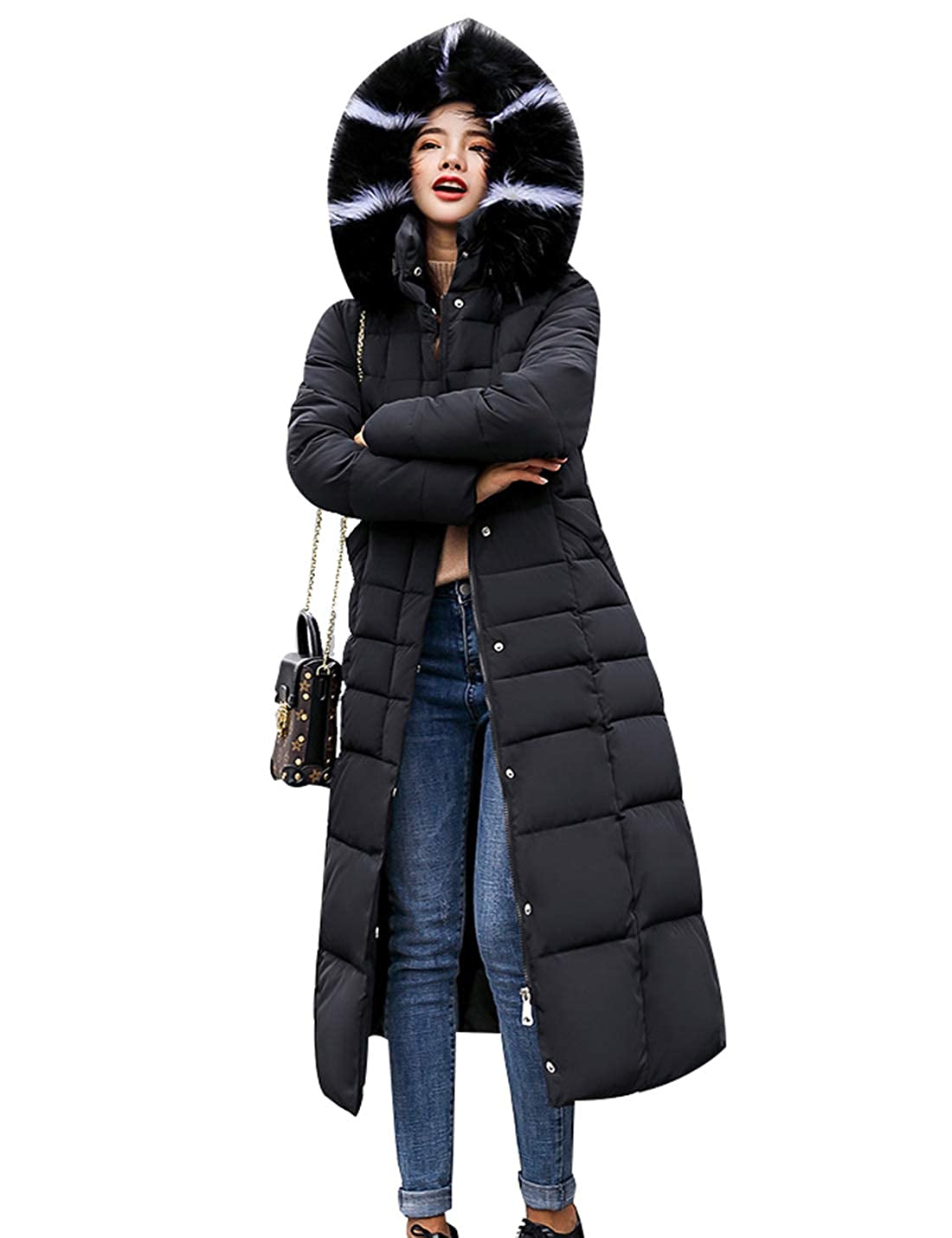 Black Naliha Women Quilted Long Parka Coats Faux Fur Hoodie Winter Padded Coats Outwear