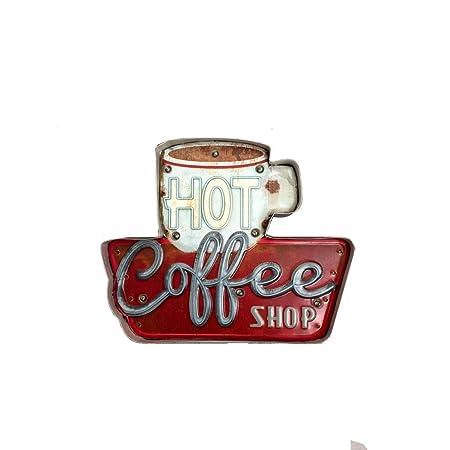 Cartel Luminoso Vintage Letrero Metálico Artesania Accesorios Decoración Hogar - Hot coffee Shop