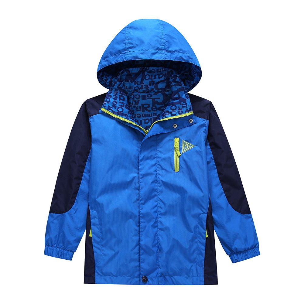 Lightweight Rain Jacket for Boys -Boys Waterproof Jacket ,Blue,13-14 Years