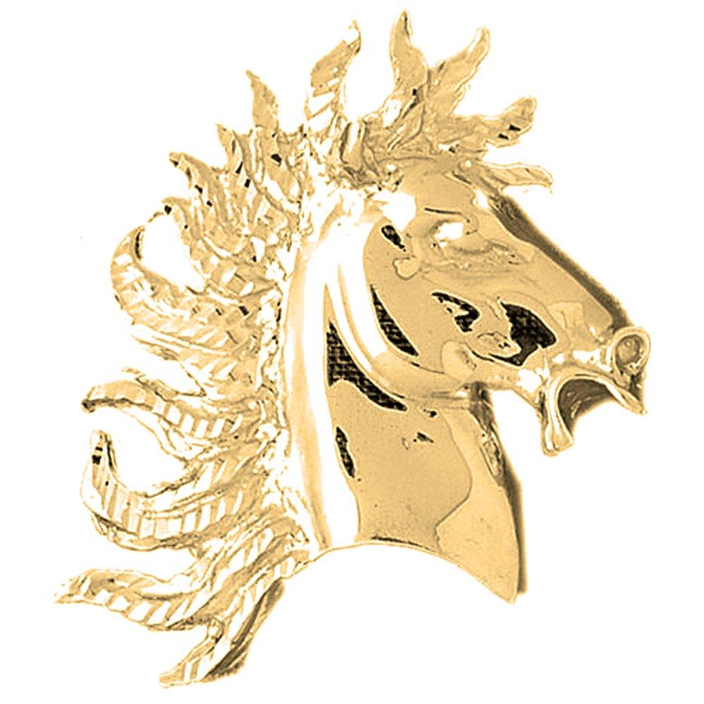 10K Yellow Gold Horse Head Pendant - 46 mm