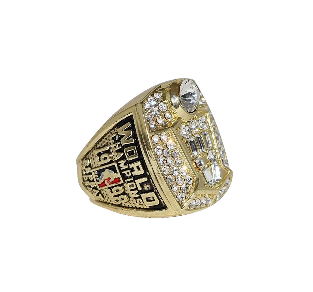 CHICAGO BULLS (Michael Jordan) 1998 NBA FINALS WORLD CHAMPIONS Vintage Collectible High Quality Replica NBA Basketball Gold Championship Ring with Cherrywood Display Box