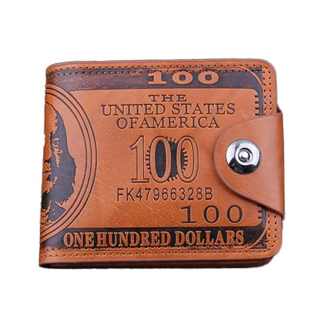 BaZhaHei-Cartera Carteras Hombre Billetera de dólar Estadounidense Billetera Billetera Billetera Cuero marrón Foto Billetera