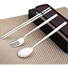 SSPG 3PCS Portable Ouside Flatware Spoon Fork Chopsticks Tableware Set 304 Stainless Steel Dinnerware with Travel Box(Pink, Coffee)