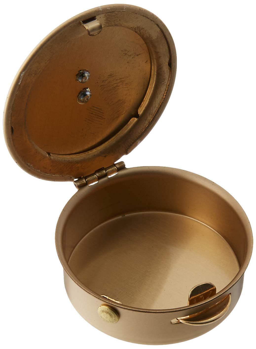 Cathedral Art Polished Brass PYX with Cross//Pill//Keepsake Box