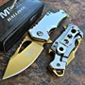 MTech Ballistic Silver w/ Gold Blade Small Pocket Camping Knife w/ Bottle Opener