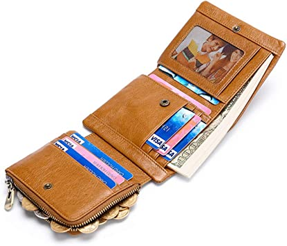 Genuine Soft Leather Tri-fold ID Coin Credit Card Holder Mens Wallet