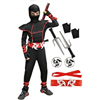 Ninja Costume Halloween Pretend Play Costumes Role Play Outfits Muscle Jumpsuit Suit for Boys