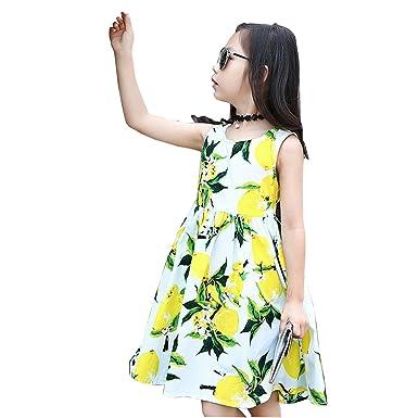 e6499f152ed5e 【ノーブランド品】キッズ ワンピース 女の子 レモンワンピース 子供ワンピース キッズドレス 子供服