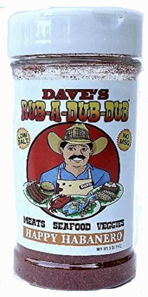 Dave's Rub a Dub Dub Happy Habanero Seasoning Low Sodium Dry Rub BBQ Spice Blend for Meats Seafood Veggies 5 OZ Shaker Bottle