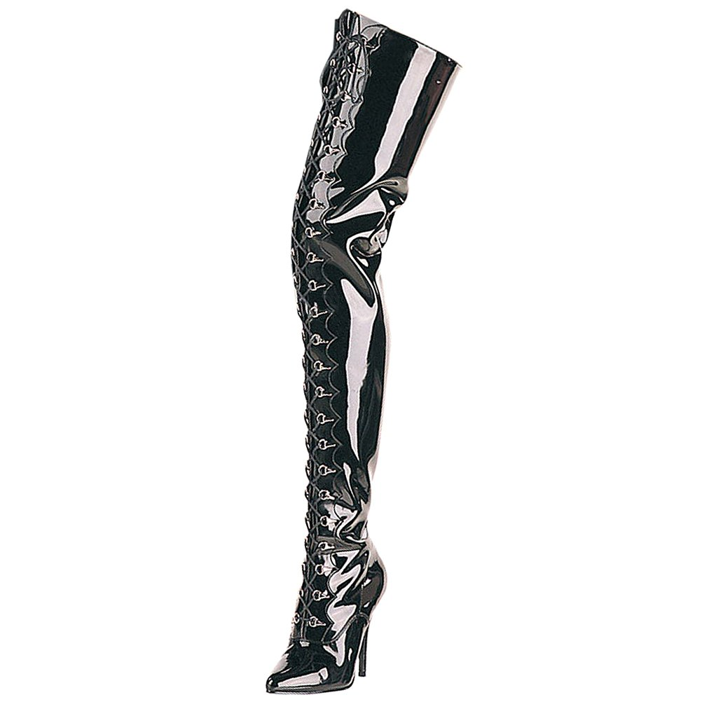 d58604bb09b Summitfashions Womens Black Boots 5 Inch Heels Lace Up Thigh High Boot  Zipper Pointed Toe