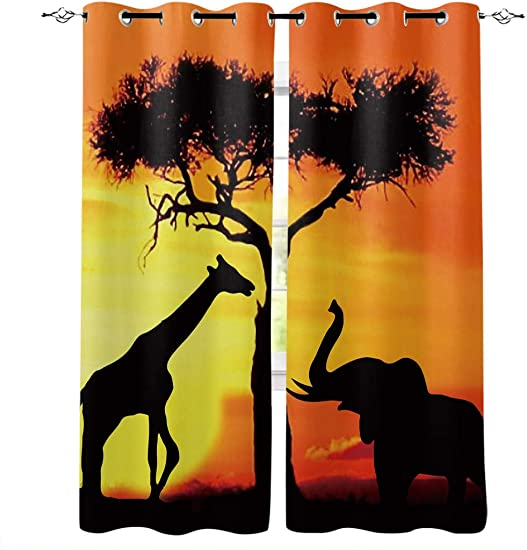 Advancey Bedroom Window Curtain Panels Giraffe and Elephant Playing