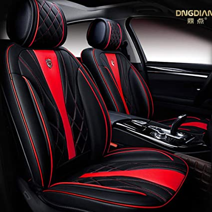 Auto Car Seat Covers Full Set 5 Seats Luxury Pu Leather Airbag Compatible For Most Car Suv Van 6d Model Design Black Red