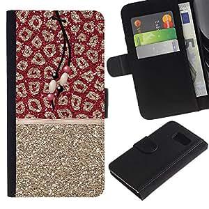 EJOY---La carpeta del tirón la caja de cuero de alta calidad de la PU Caso protector / Samsung Galaxy S6 / --Oro Piel Patrón india