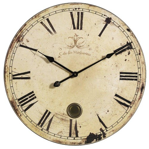Home Decorators Collection Aged Oversized Wall Clock, 23 D, Yellow Cream