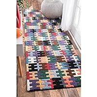 nuLOOM Handmade Wool Puzzle Kids Multi Runner Rug (26 x 8)
