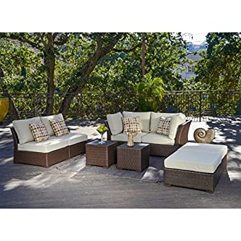 this item this easy to assemble corvus oreanne 8piece handwoven resin wicker outdoor furniture set is the perfect look for your backyard - Resin Wicker Patio Furniture