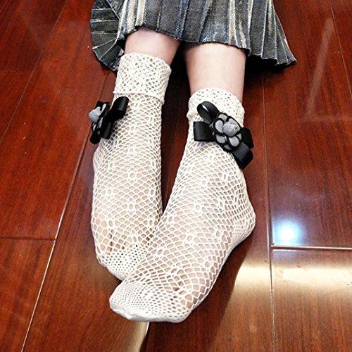 Calcetines De Mujer, Inkach Moda, Niñas, Volantes, Medias De Red, Calcetines Cortos, Encaje De Malla Calcetines, Red, Blanco