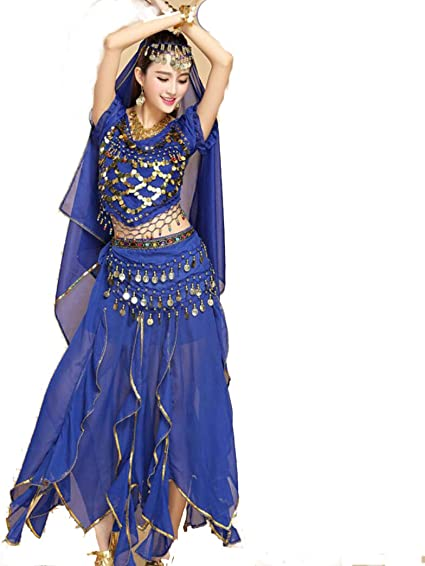 Yeahdor Womens Professional Belly Indian Dance Suit Halloween Festival Carnival Cosplay Costume Outfits