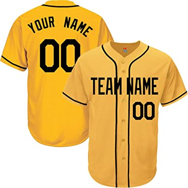 4079967009d Yellow Custom Baseball Jersey for Men Button Down Embroidered Team Player  Name & Numbers,Black