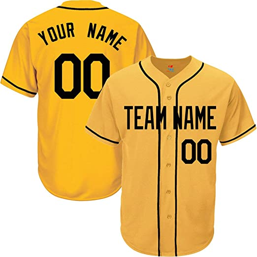 df20a7189ee13 Yellow Custom Baseball Jersey for Men Women Youth Button Down Embroidered  Team Player Name & Numbers S-8XL - Design Your Own