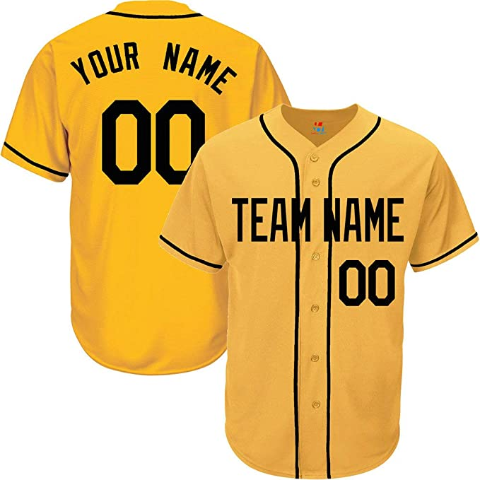 low priced 3b816 2f15a Yellow Custom Baseball Jersey for Men Women Youth Button Down Embroidered  Team Player Name & Numbers S-8XL - Design Your Own
