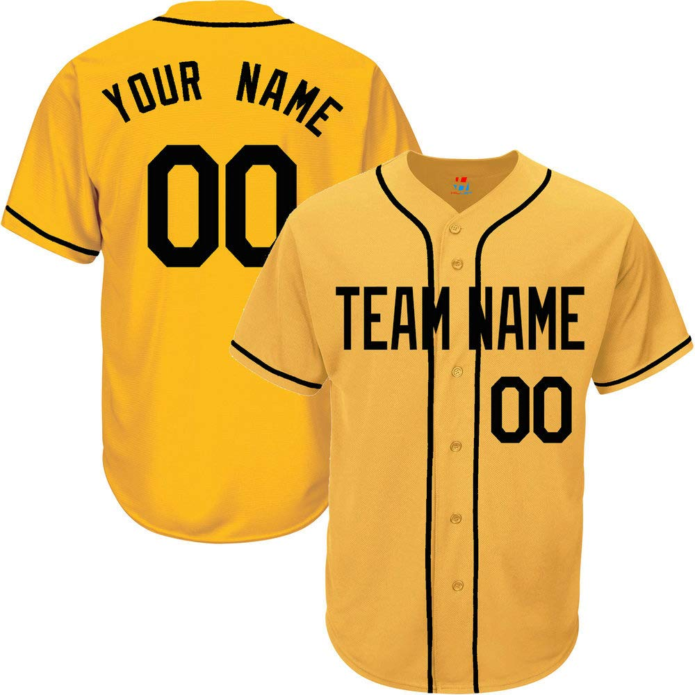 Yellow Custom Baseball Jersey for Men Button Down Embroidered Team Player Name & Numbers,Black Size S