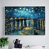 Faraway 5D Diy Diamond Painting Starry Night on the Rhone River by Van Gogh Sticker Rhinestone Painting for Wall Decor 16X20inch