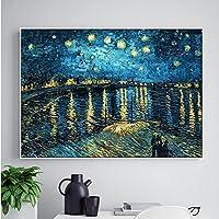 Faraway 5D Diy Diamond Painting Starry Night on the Rhone River by Van Gogh Cross Stitch Wall Sticker Rhinestone Painting