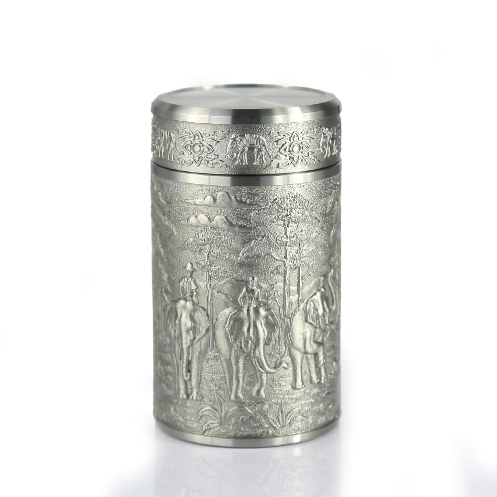 Oriental Pewter - Pewter Tea Storage, Caddy -TPCM4- Hand Carved Beautiful Embossed Pure Tin 97% Lead-Free Pewter Handmade in Thailand