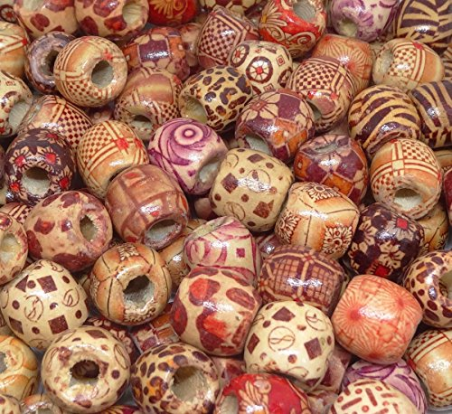Penta Angel 100PCS 17mm Natural Painted Pattern Barrel Wood Beads Round Loose Wooden Beads Bulk for Art & Craft Project and Jewelry Making ()