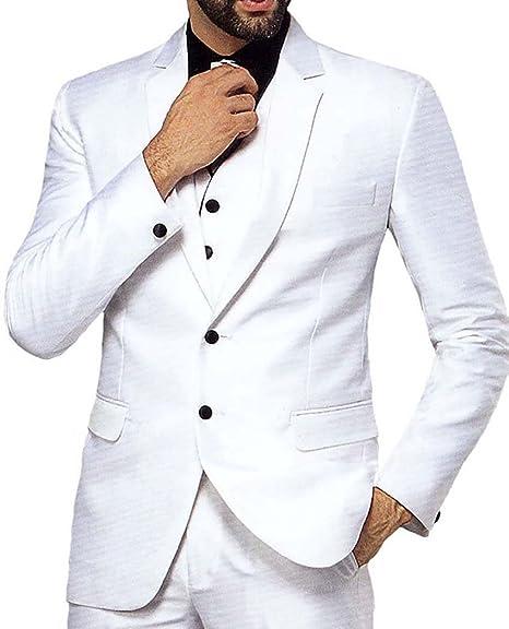 INMONARCH Hombres Blanco 5 Pc Esmoquin clásico Traje Dos Botones ...