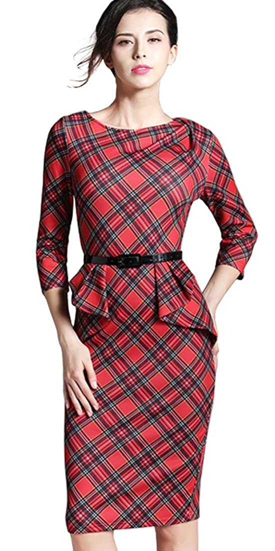 Vintage Christmas Gift Ideas for Women Tartan Wear to Work Bodycon Dress B267 HOMEYEE Womens Vintage  $30.99 AT vintagedancer.com