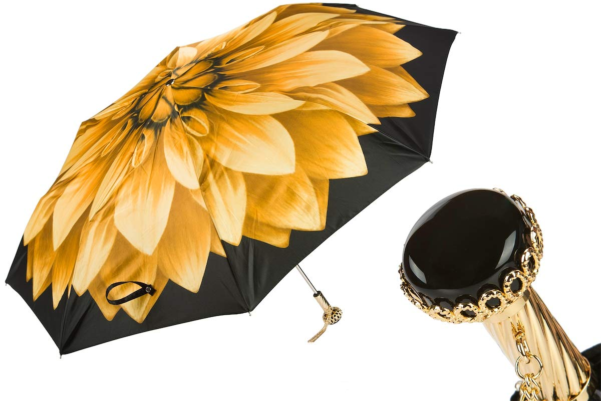 Pasotti Folding Umbrella - Limited Edition Dahlia Flower Yellow