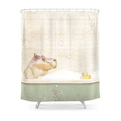 Society6 Hippo In The Bath Shower Curtain 71quot