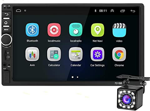 Android Doble DIN Radio De Coche Navegacion GPS,7 Pulgadas Coche Reproductor MP5 USB/SD/AUX Entrada,Radios para Coche Bluetooth,Radio FM,Enlace Espejo,WiFi,con Cámara Trasera: Amazon.es: Electrónica