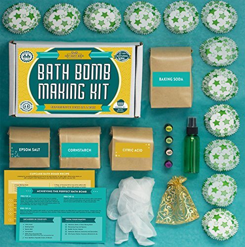 Image of the Bath Bomb Making Kit with 100% Pure Therapeutic Grade Essential Oils, (Makes 12 DIY Lush Cupcake Mold Bath Bombs), Gift Box Included.