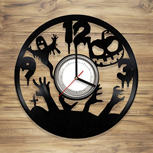 DecorArt Studio Halloween Vinyl Wall Clock vinyl clock design Horror Perfect gift and Beautiful Art Decorate your Home with MODERN Style UNIQUE GIFT idea for Him and Her (12 inches) ()