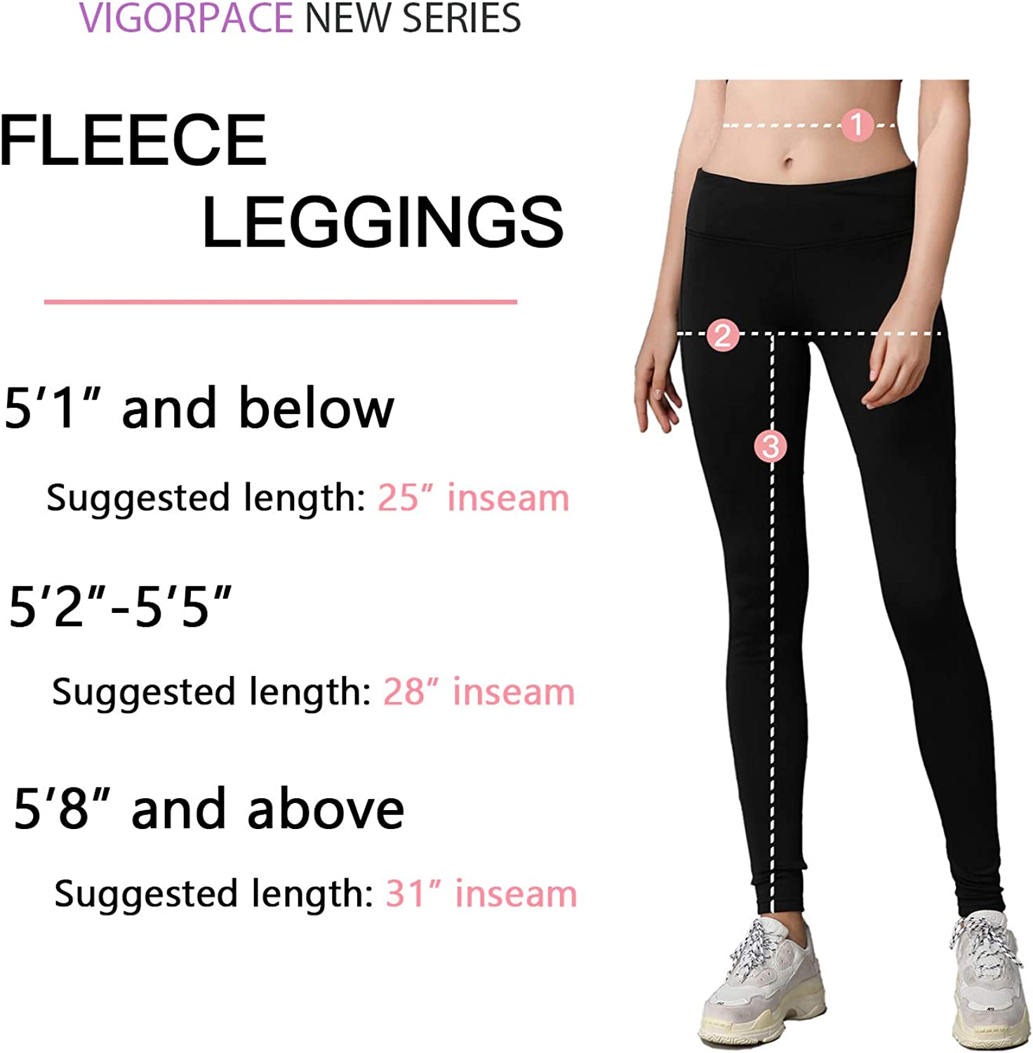 VIGORPACE 25//28//31 Womens Fleece Lined Thermal Tights with Zippered Pocket