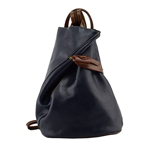 e3baa43d0f38d7 Made In Italy Leather Backpack For Women With Zipped Straps Color Blue And  Brown Tuscan Leather - Backpack: Amazon.co.uk: Shoes & Bags