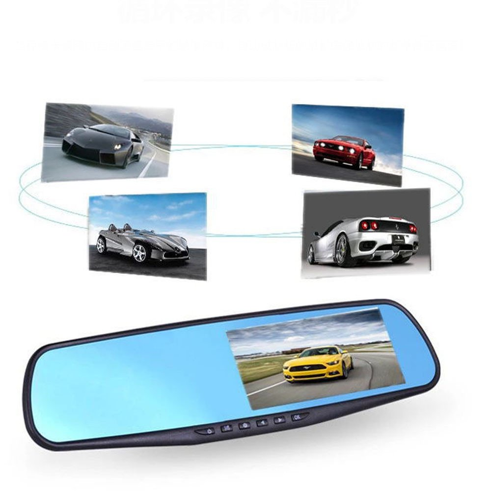 Kunaw Full Hd 1080P 2.8 Video Recorder Dash Cam Rearview Mirror Car Camera Dvr 170-Degree Wide-Angle Sprint Camera Car Video Camera Rear View Camera, G Sensor Motion Detection and Parking Monitoring