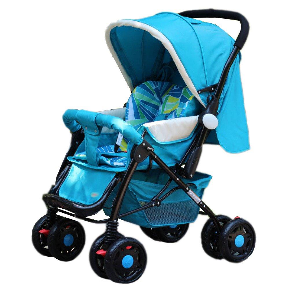 広げられた拡張新生児のベビーカーは、二方向のデュアルユース0-3歳の赤ちゃん傘カートをリクライニングすることができます (青い)  青い B07FMKRNKQ