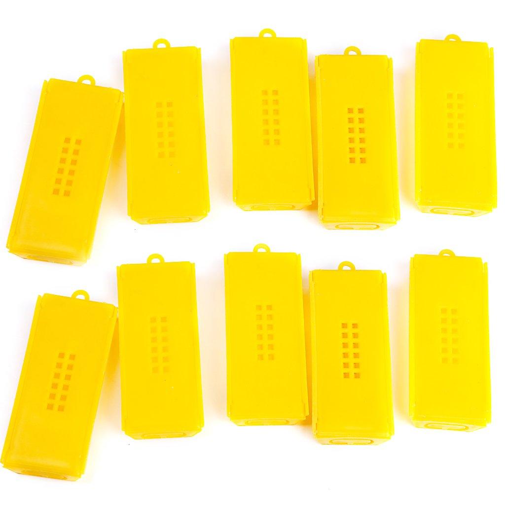 10pcs Professional Queen Bee Cage Catcher Beekeeping Tool Yellow L-FENG-UK