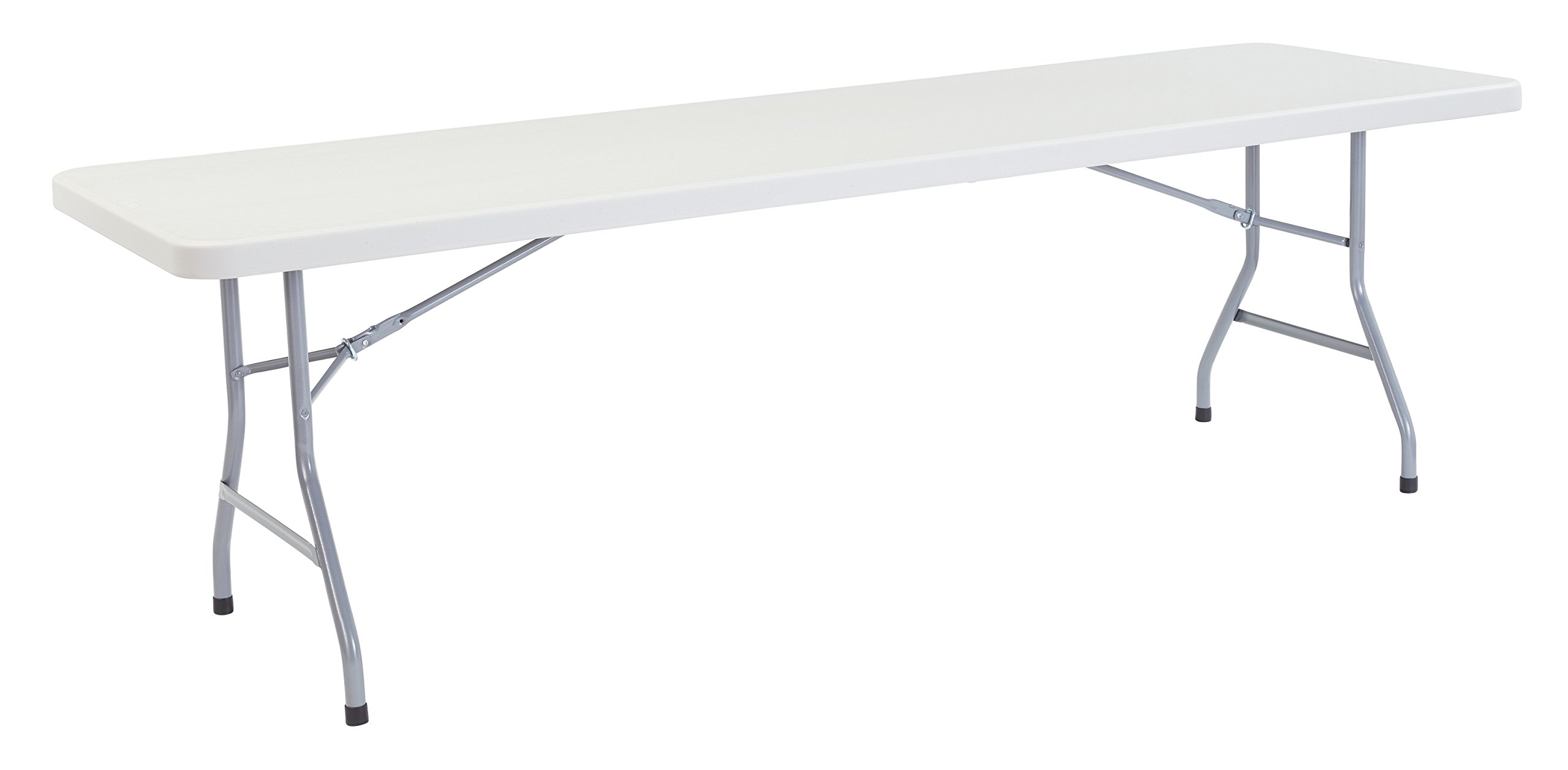 National Public Seating BT3000 Series Steel Frame Rectangular Blow Molded Plastic Top Folding Table, 800 lbs Capacity, 96'' Length x 30'' Width x 29-1/2'' Height, Speckled Gray/Gray
